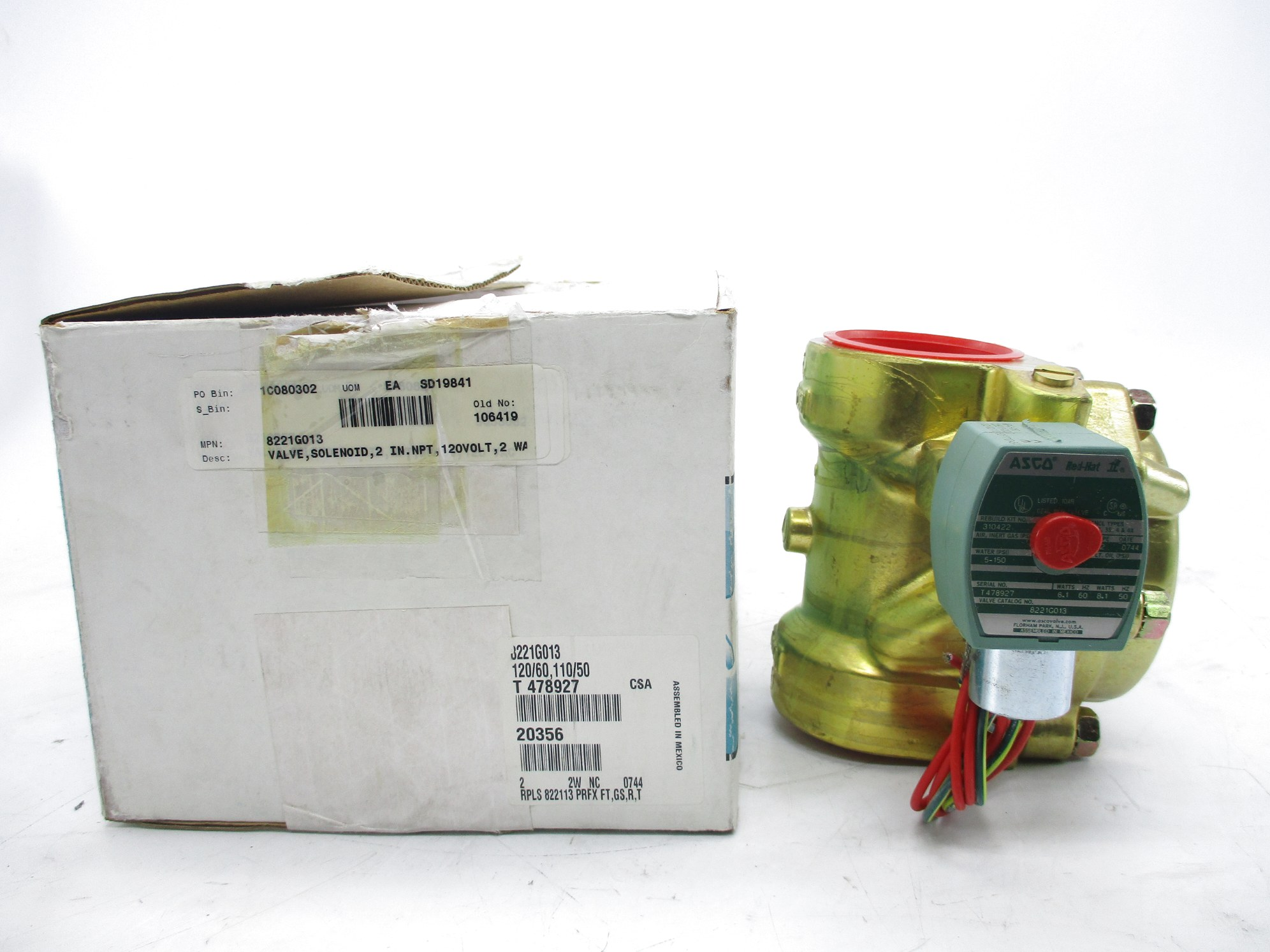 """ASCO WT8551A001MS 110//50 120//60 4W 1//4/"""" NSMP"""