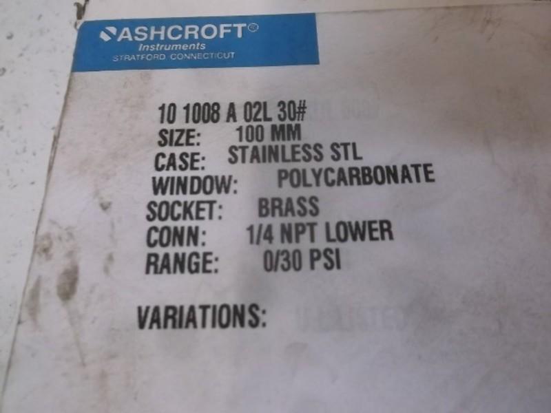 Ashcroft 45-1279-AS-02L-30# 30PSI NSMP